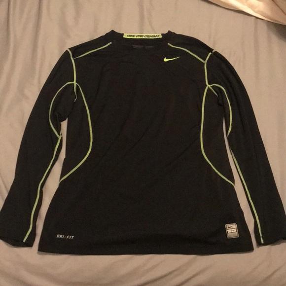 05610bc34d8ee9 Nike mens Pro Combat long sleeve - black/neon sz L.  M_5afb83bd077b979eb50e476c